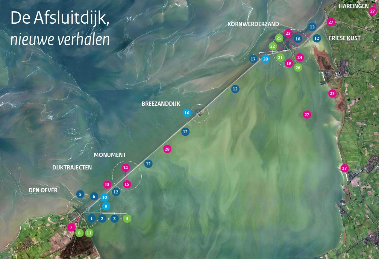 Satellietfoto van de Afsluitdijk met daar de verschillende projecten gemarkeerd