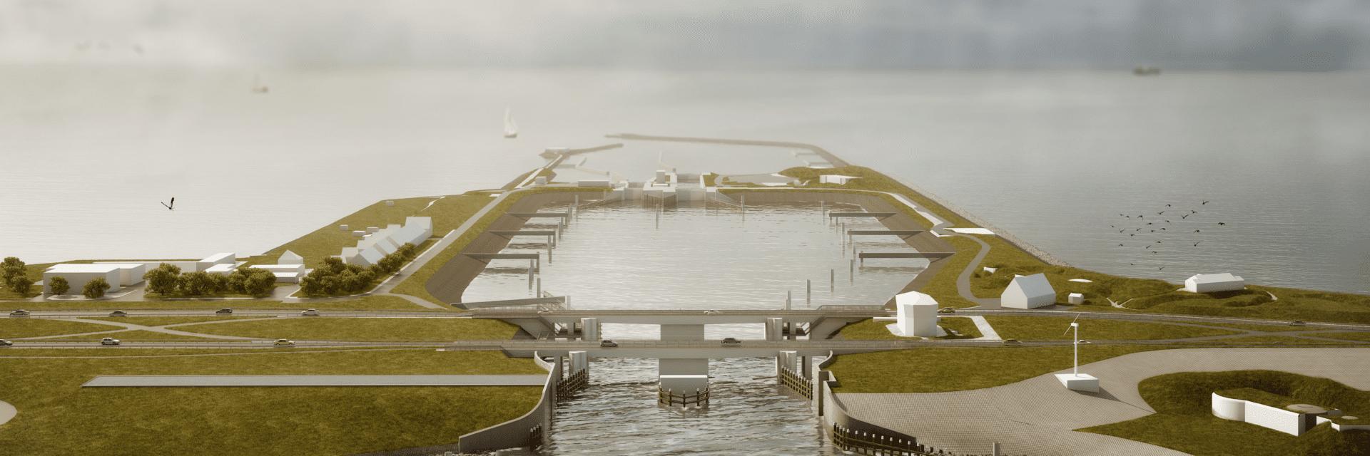 Keersluis bij Kornwerderzand. Dit is een impressie van de nieuwe keersluis. Je kijkt uit over de weg van de Afsluitdijk. Deze loopt horizontaal. Verticaal loopt de sluis, landstroken, en daarin het water van het IJsselmeer en de Waddenzee. Boven zie je een bewolkte lucht en zeemeeuwen.