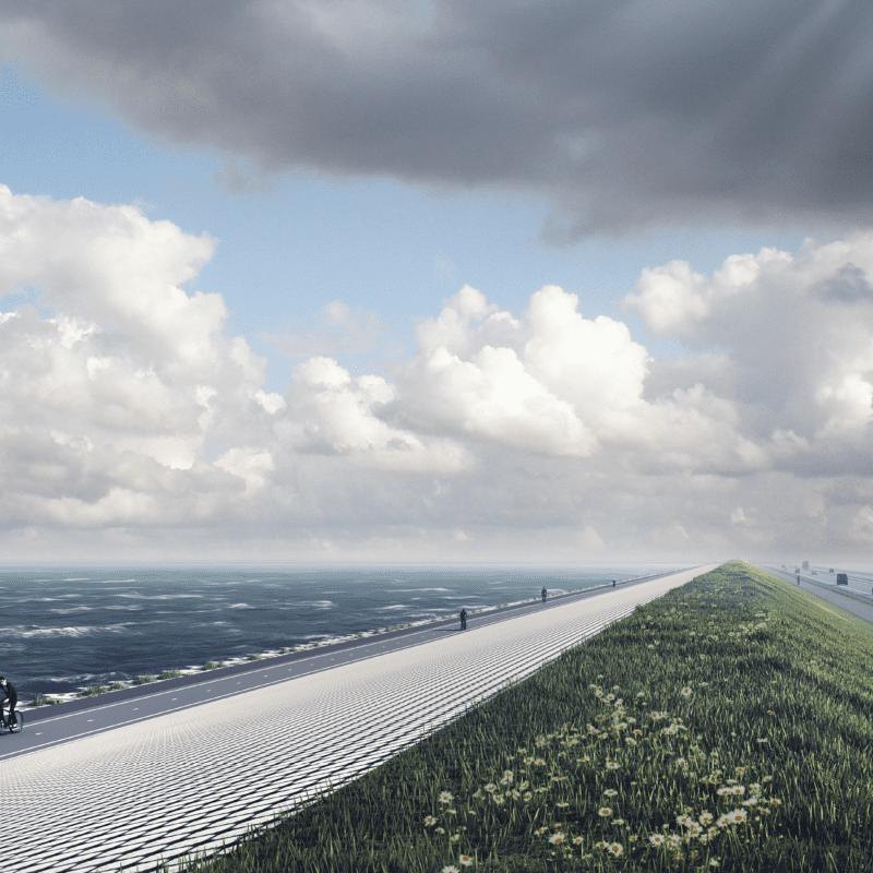 Impressie van de verbouwde Afsluitdijk. Links zie je het nieuwe fietspad met een fietser. Aan de rechterkant van de fietser zie je de nieuwe Levvelblocks. Daarnaast is een fietspad en daarnaast de autoweg.