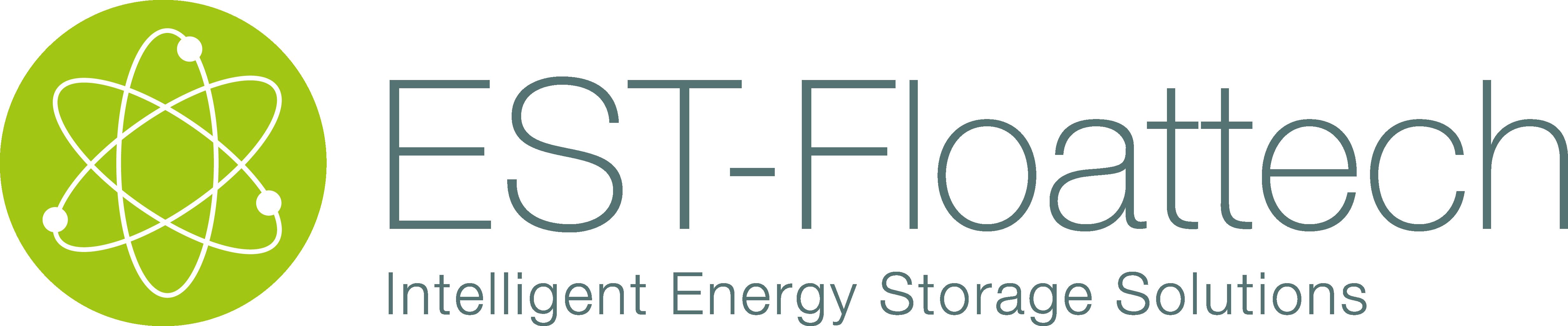 Logo EST Floattech. Een witte achtergrond met een een grote donkere naam en daaronder Intelligent Energy Storage Solutions. Links staat er een groene bol met een molecuul-symbool.