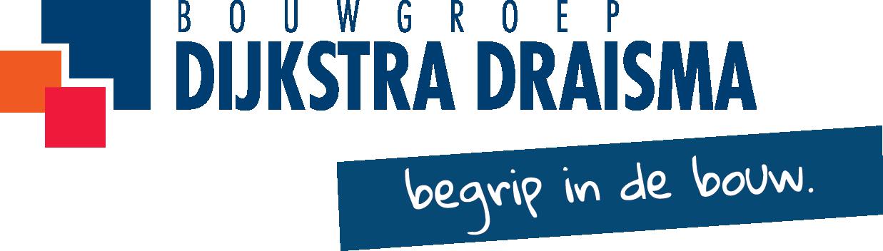 Logo Bouwgroep Dijkstra Draisma. Dit staat in blauwe letters en daaronder is een blauw blok met witte letters: begrip in de bouw. Aan de linkerkant drie blokjes in blauw, oranje en rood.