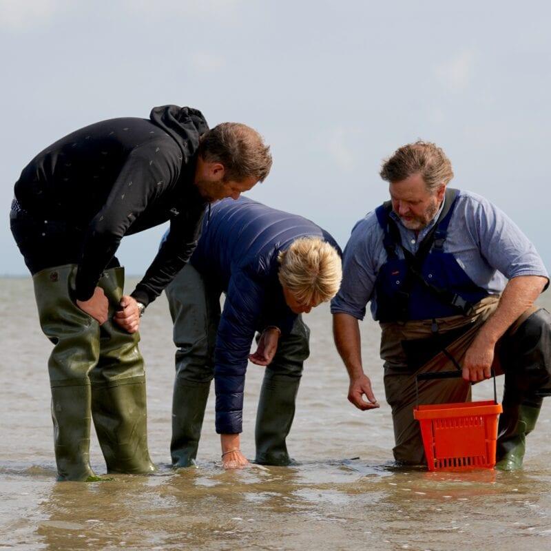 Werelderfgoed Waddenzee in nieuw Tv-programma: drie mannen onderzoeken water. Zij staan erin en hebben een rode mand.