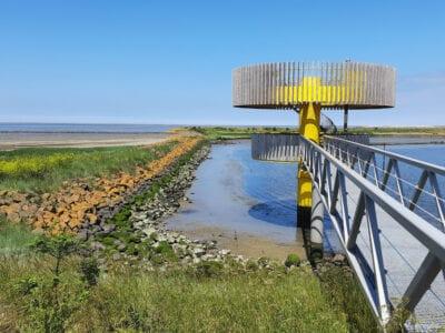 Waddenbelevingspunt Den Oever, een gele toren met uitzicht over het natuurgebied