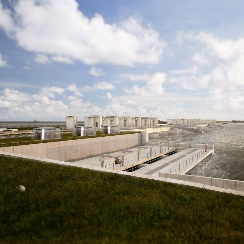 Afbeelding van de Gates of Light. Voor zien we het gras daarachter het water. Aan de linkerkant de weg omringt met de witte sluisgebouwen.