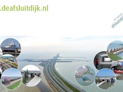Collage van Afsluitdijk projecten. We zien een foto van de weg op de Afsluitdijk. Aan de beide kanten bij het water staan zes bollen. In die bollen staan projecten die op de Afsluitdijk plaatsvinden.