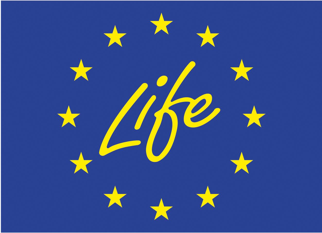 Logo van Life. Dit is een blauwe achtergrond met het woord: Life en gele sterren eromheen.