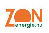 Logo ZON Energie. Een witte achtergrond met bovenin ZON in het oranje en daaronder in het groen energie.nu.