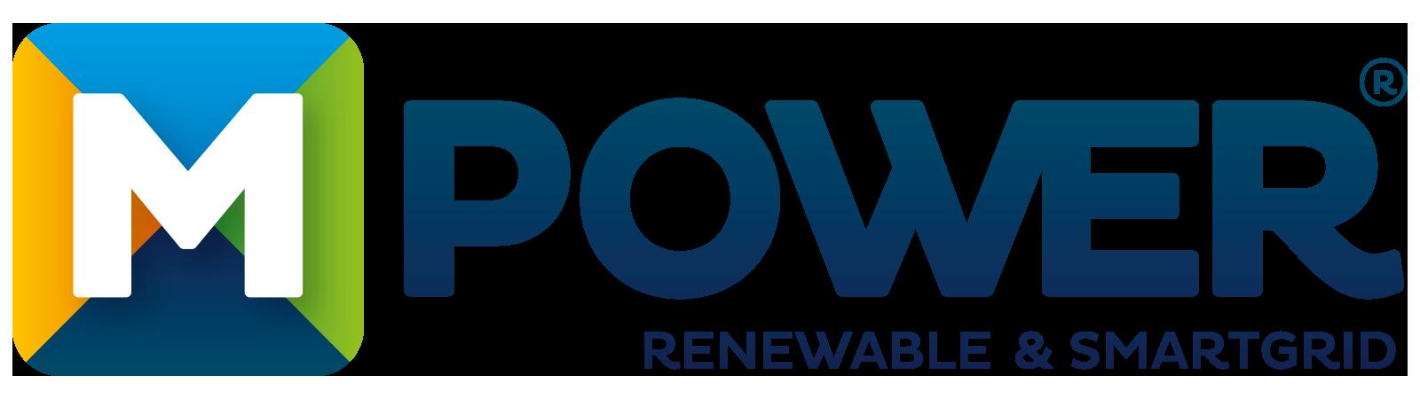Logo van MPower. Links staat een blok met vier kleuren, blauw, groen, zwart en geel. In het midden staat een m. Daarnaast de blauwe letters power en daaronder: renewable & smartgrid.