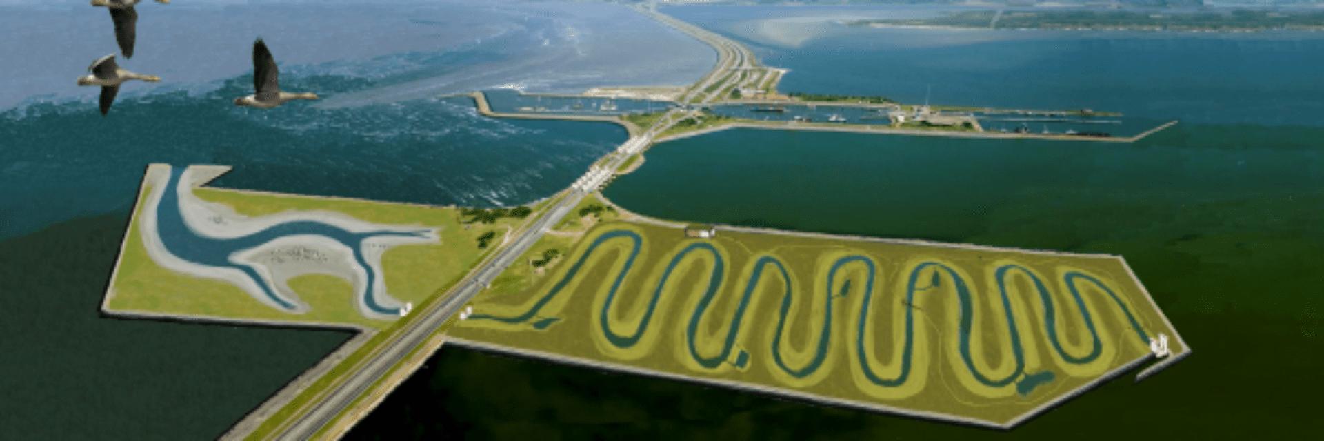Impressie van de Vismigratierivier. Het is een 3D-tekening van de rivier. Je ziet de weg waar de vis door heen moet zwemmen. Links boven vliegen drie zeemeeuwen.