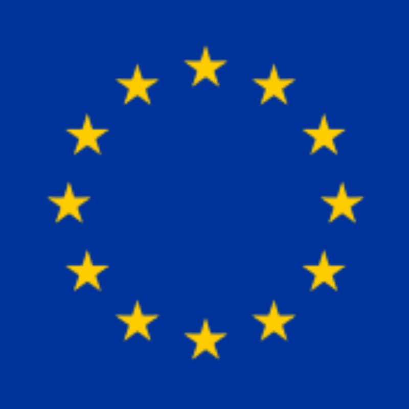 Logo van de Europese Unie. Dit is een blauw vlak met gele sterren in een rondje.