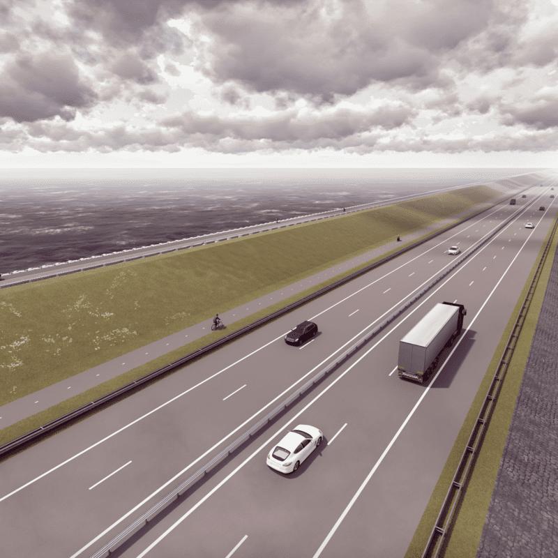 Dit is een nieuwe impressie van de Afsluitdijk. Het is een visueel getekende weg met een paar auto's. Aan de linkerkant zie je een grasdijk. Daarop zie je een fietspad. Aan beide kanten van de weg zie je water.