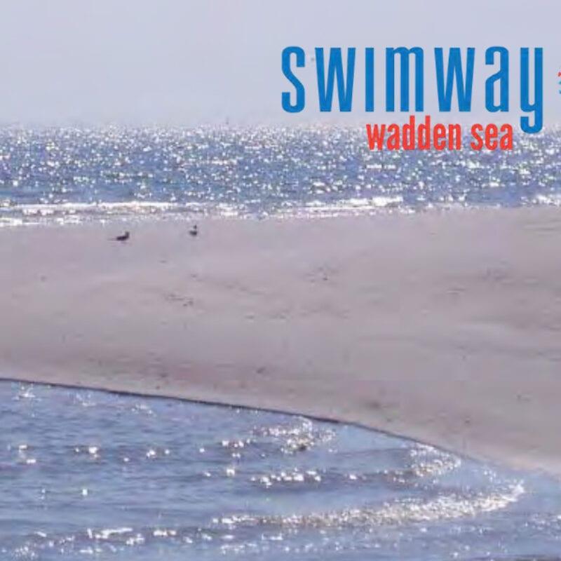 Afbeelding van de Waddenzee met een zandbed. Er staat ook een logo op van Swimway. Daaronder de rode tekst Wadden Sea.
