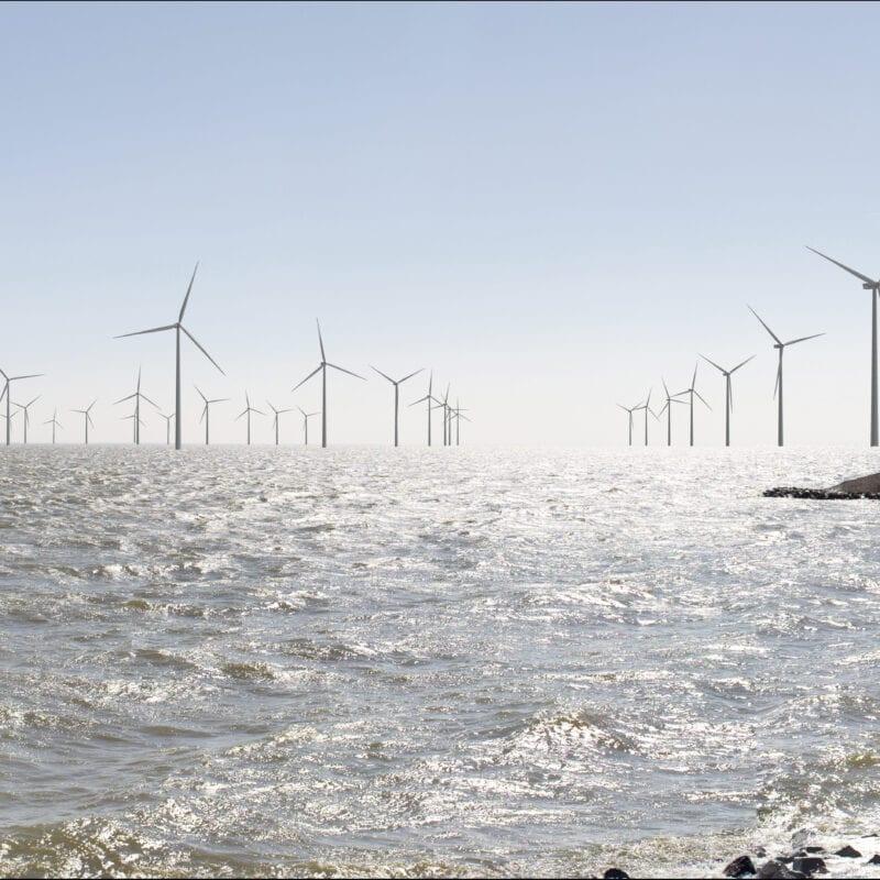 Wij kijken uit over het water van het IJsselmeer. Aan het einde staan een paar rijen witte windmolens.