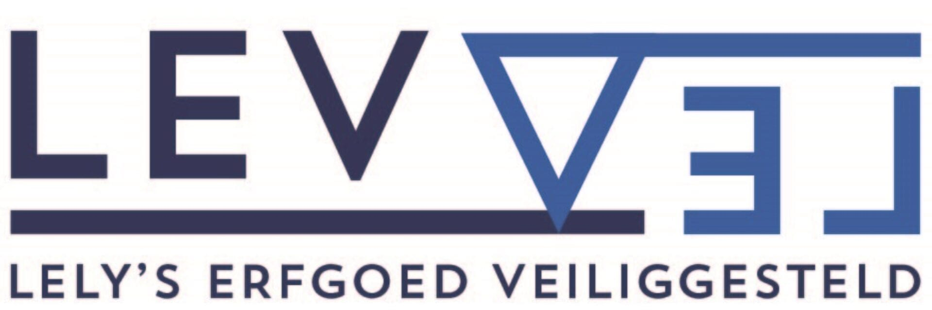 Logo van Levvel. Je ziet in twee kleuren blauw LEVVEL. Daaronder staat de tekst: Lely's erfgoed veiliggesteld met een witte achtergrond.