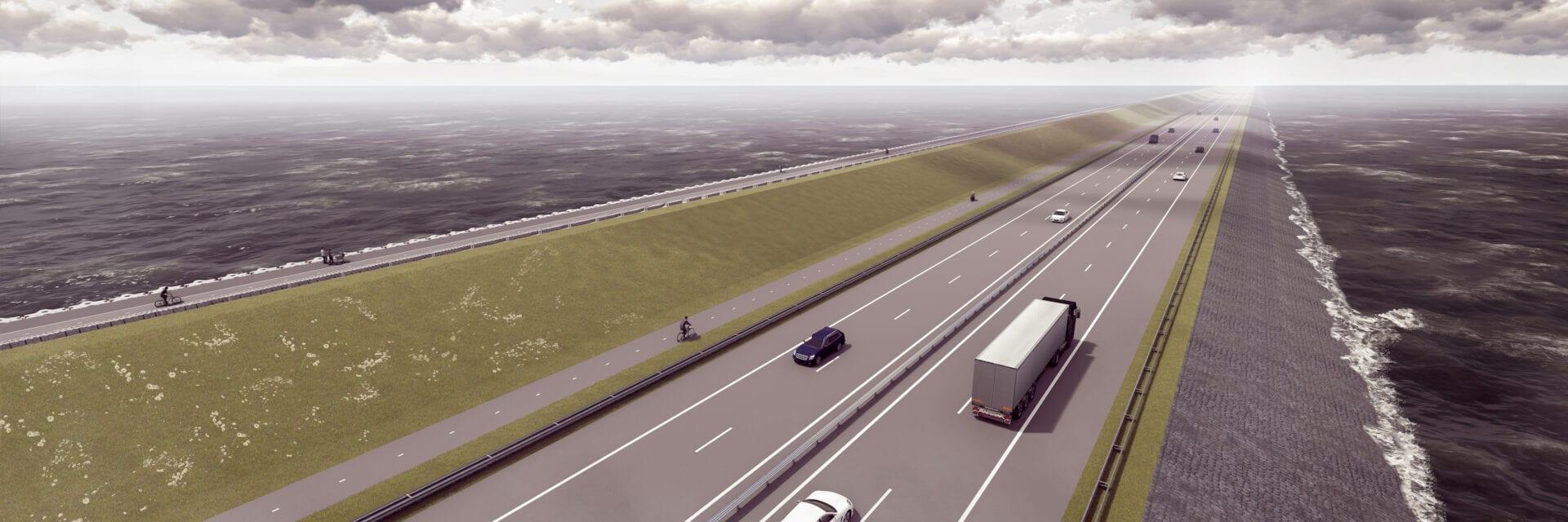 Impressie van de verbeterde A7. Een getekende weergave van hoe de Afsluitdijk er in de toekomst uit ziet. Je ziet twee wegdelen en daarnaast een fietspad. Aan de zijkanten zie je water en basaltblokken.
