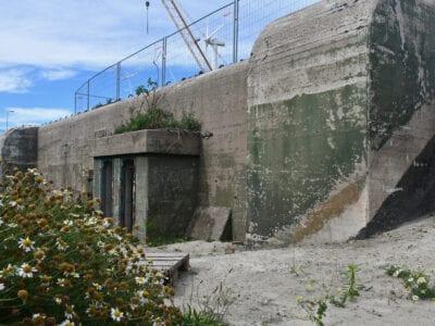 Op de foto zie je een grijsgroene bunker. In het midden van de bunker zit de ingang zit de deur.
