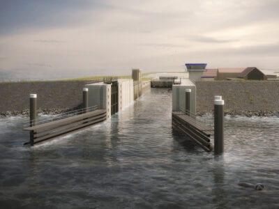 Op de afbeelding zie je een visuele weergave van de nieuwe keersluis bij Den Oever. Op de voorgrond zie je de toegang tot de sluis, links een uitkijktoren en enkele gebouwen met rode daken. Daarachter ligt de voorhaven.