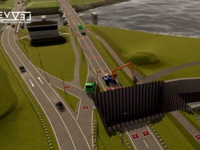 Op deze afbeelding zie je een simulatie van een verkeerssituatie waarbij verkeer over dezelfde rijnbaan gaat in tegenovergestelde richtingen en de andere rijbaan is afgesloten vanwege werkzaamheden.