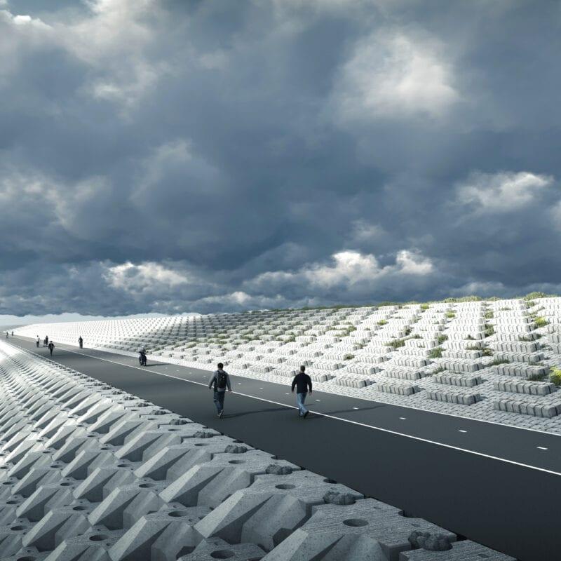 animatie van het toekomstig fietspad aan de waddenzee zijde