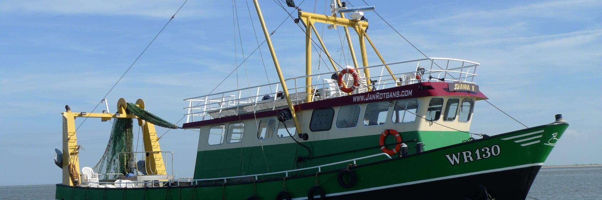 Op de foto zie je een groene boot door het water varen